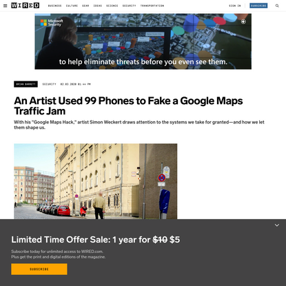 An Artist Used 99 Phones to Fake a Google Maps Traffic Jam