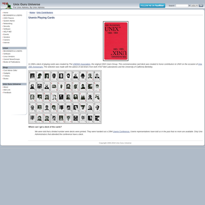 UGU: Unix Guru Universe - Usenix Playing Cards