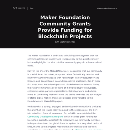 Maker Foundation Community Grants Provide Funding for Blockchain Projects