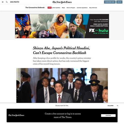 Shinzo Abe, Japan's Political Houdini, Can't Escape Coronavirus Backlash