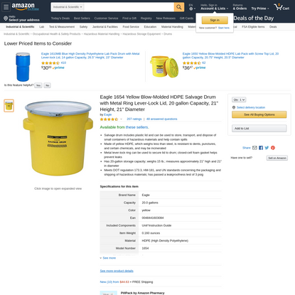 "Eagle 1654 Yellow Blow-Molded HDPE Salvage Drum with Metal Ring Lever-Lock Lid, 20 gallon Capacity, 21"" Height, 21"" Diameter: Hazardous Storage Drums: Amazon.com: Industrial & Scientific"