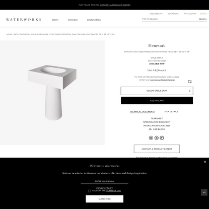 """Formwork Lithic Single Pedestal Sink for One Hole Faucet 28"""" x 22 1/2"""" x 34"""""""