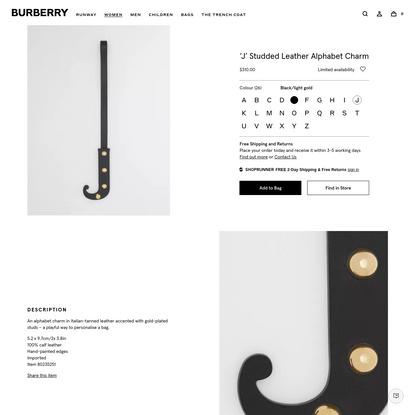 'J' Studded Leather Alphabet Charm in Black/light Gold - Women | Burberry United States