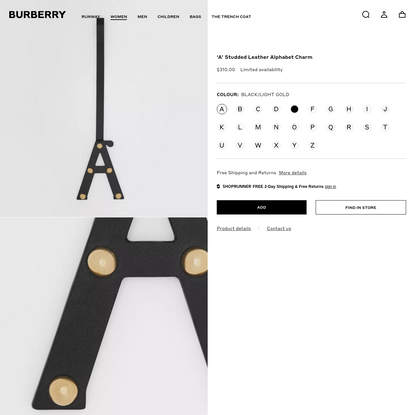 'A' Studded Leather Alphabet Charm in Black/light Gold - Women | Burberry United States