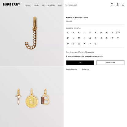Crystal 'J' Alphabet Charm - Women | Burberry United States