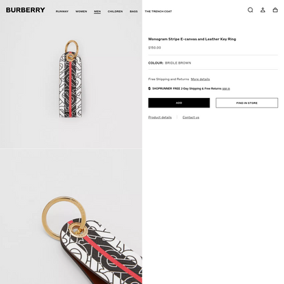 Monogram Stripe E-canvas and Leather Key Ring in Bridle Brown | Burberry United States