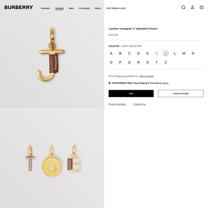 Leather-wrapped 'J' Alphabet Charm in Light Gold/tan - Women | Burberry United States