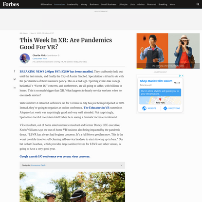 This Week In XR: Are Pandemics Good For VR?
