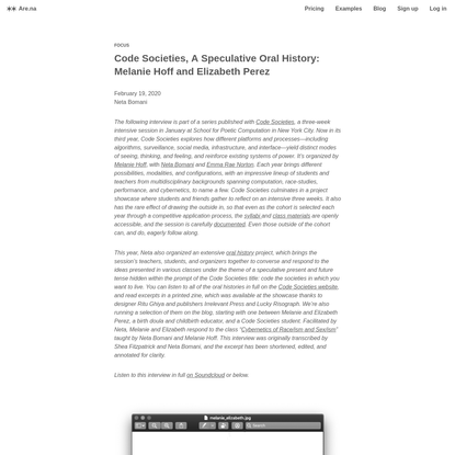 Are.na / Code Societies, A Speculative Oral History: Melanie Hoff and Elizabeth Perez