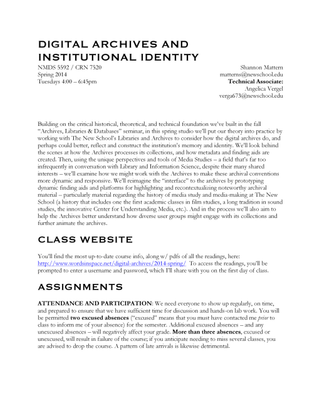 New School NMDS5592: Digital Archives and Institutional Identity