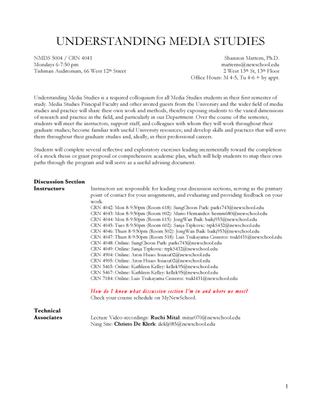 New School NMDS5004: Understanding Media Studies