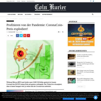 Profitieren von der Pandemie: CoronaCoin-Preis explodiert!