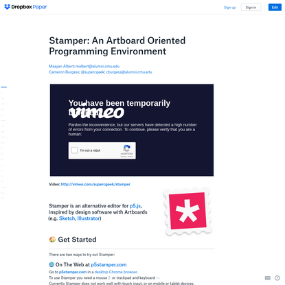 Stamper: An Artboard Oriented Programming Environment