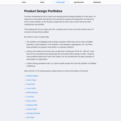 Product Design Portfolios