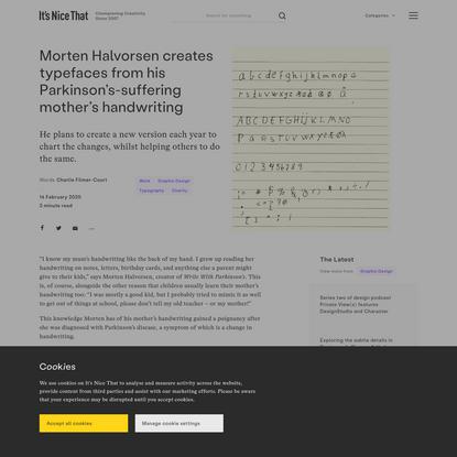 Morten Halvorsen creates typefaces from his Parkinson's-suffering mother's handwriting