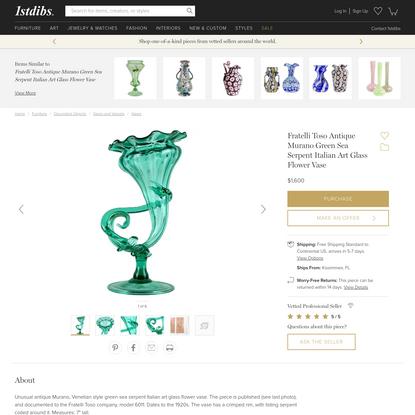 Fratelli Toso Antique Murano Green Sea Serpent Italian Art Glass Flower Vase
