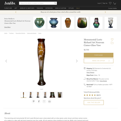Monumental Loetz Richard Art Nouveau Cameo Glass Vase