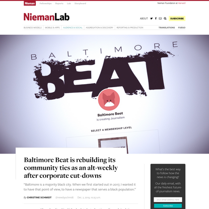 Baltimore Beat is rebuilding its community ties as an alt-weekly after corporate cut-downs