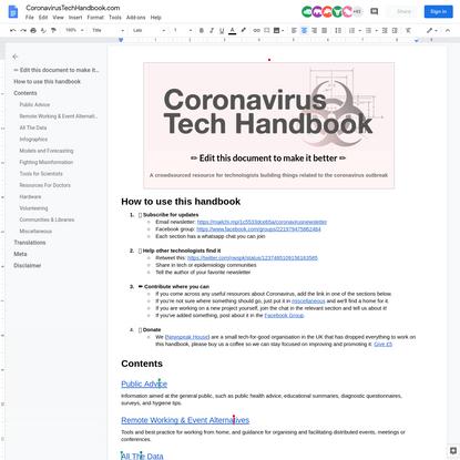 Coronavirus Tech Handbook