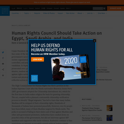 Human Rights Council Should Take Action on Egypt, Saudi Arabia, and India