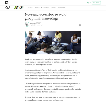 Note-and-vote: How to avoid groupthink in meetings