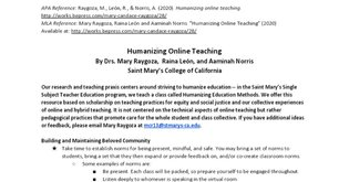 Humanizing Online Teaching By Mary Raygoza, Raina León, and Aaminah Norris
