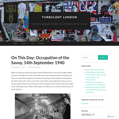 On This Day: Occupation of the Savoy, 14th September 1940