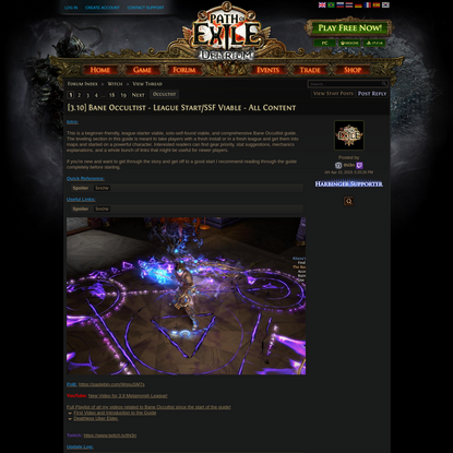 Forum - Witch - [3.10] Bane Occultist - League Start/SSF Viable - All Content - Path of Exile
