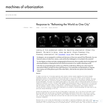 """Response to """"Reframing the World as One City"""""""