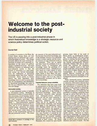 Welcome to the post-industrial society