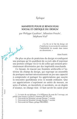 Manifeste pour le renouveau social et critique du design, Stéphane Vial
