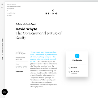 David Whyte - The Conversational Nature of Reality