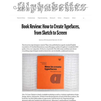 Book Review: How to Create Typefaces, from Sketch to Screen