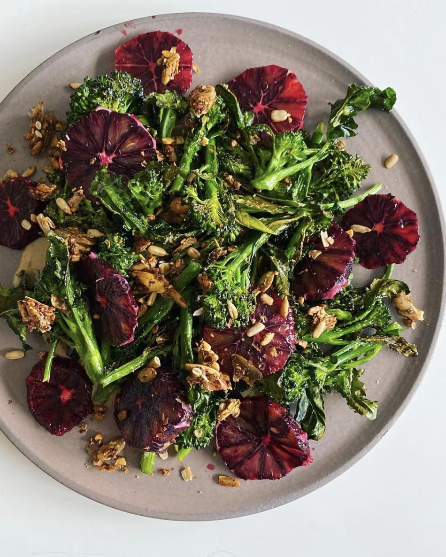 Broccolini, tahini, blood orange