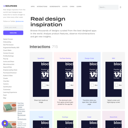 UI Sources | Mobile Design Patterns and Interactions