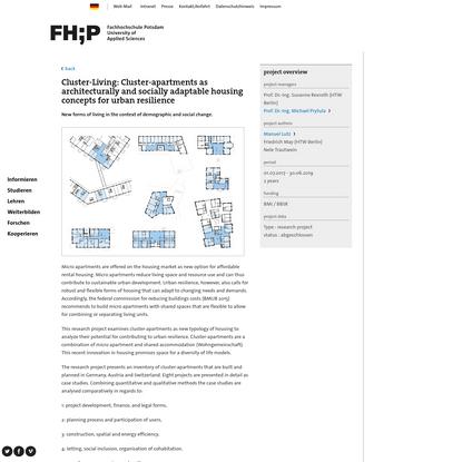 Cluster-Wohnen: Cluster-Wohnungen für baulich und sozial anpassungsfähige Wohnkonzepte einer resilienten Stadtentwicklung