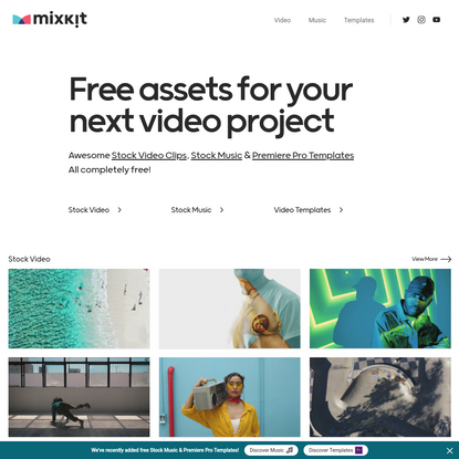 Mixkit - Awesome free assets for your next video project