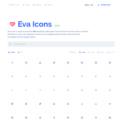 Eva Icons - beautifully crafted Open Source UI icons for common actions and items.
