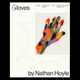 Hand drawing and flyer for 'Gloves by @nathan________hoyle ' at @tuskchicago ❤️💗 . Flower 'G' by Elias Hanzer