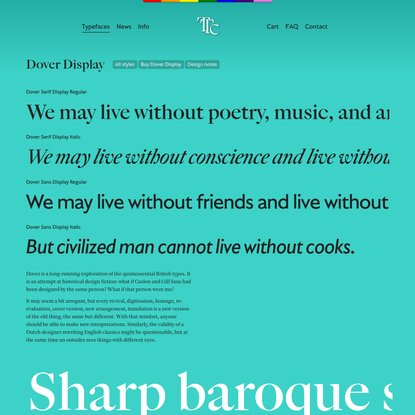 Dover Display · Tiny Type, typefaces for all sorts of cases