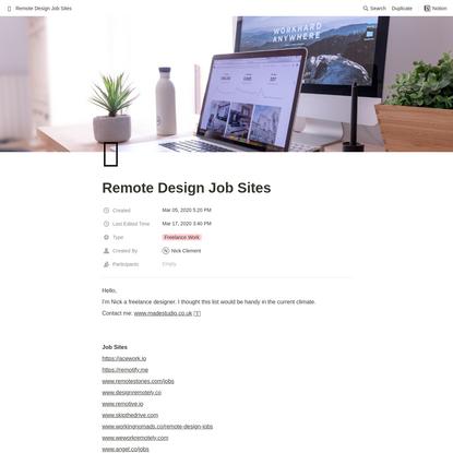 Remote Design Job Sites