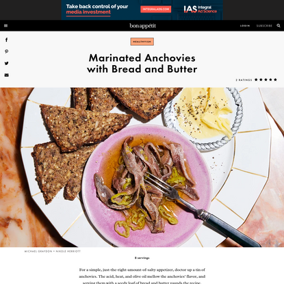 Marinated Anchovies with Bread and Butter Recipe