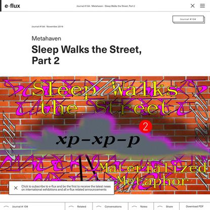 Sleep Walks the Street, Part 2