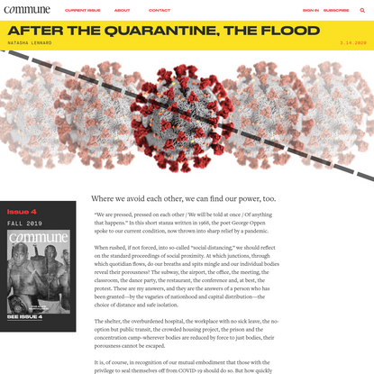 After the Quarantine, the Flood | Commune
