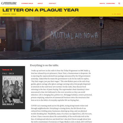 Letter on a Plague Year | Commune