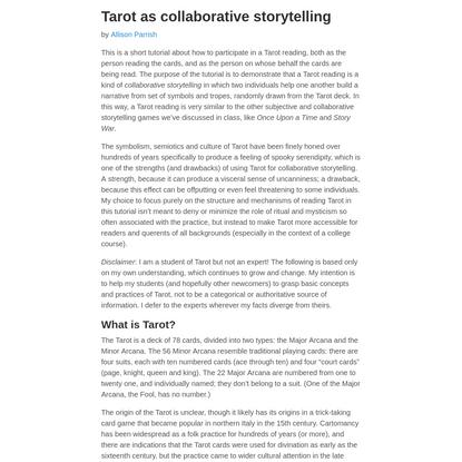 Tarot as collaborative storytelling
