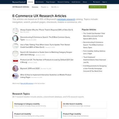 UX Research Articles - Baymard Institute