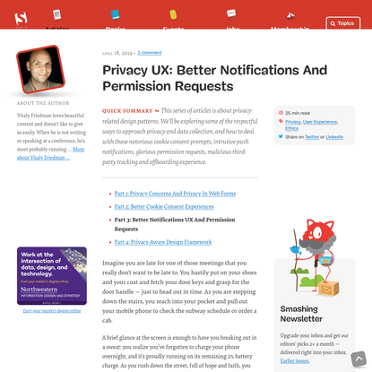 Privacy UX: Better Notifications And Permission Requests - Smashing Magazine