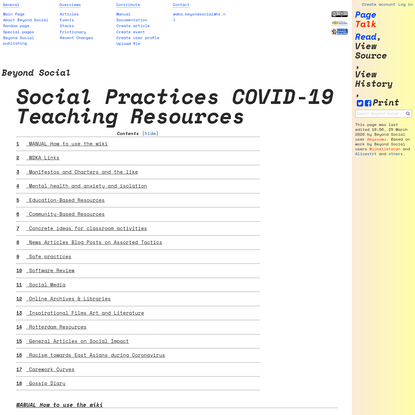 Social Practices COVID-19 Teaching Resources