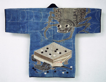 Japanese Fireman Coat Featuring a Spider and a Go Board, late Edo period (19th century CE) [1080x835]